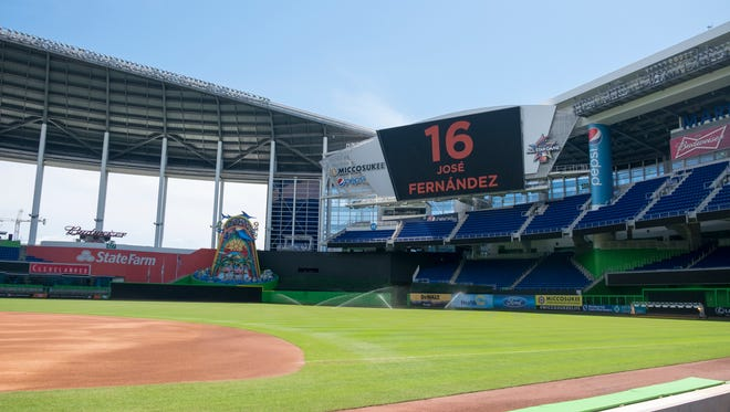 Marlins Stadium sits empty after the cancellation of Sunday's game because of the death of pitcher Jose Fernandez.