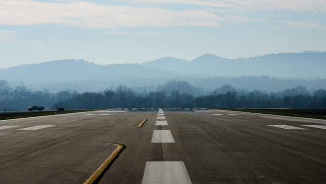 The runway at Asheville Regional Airport.