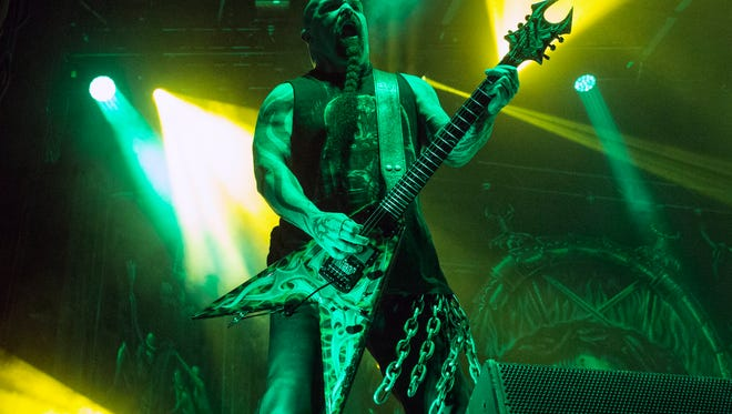 Slayer guitarist Kerry King gives the crowd what they want during day one of the 2016 Louder Than Life Festival at Champions Park on Saturday. 10/1/16
