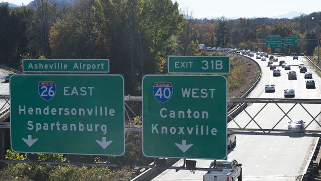 Traffic begins to slow at the western end of Interstate 240, where it intersects Interstate 26 and Interstate 40 on the west side of Asheville.