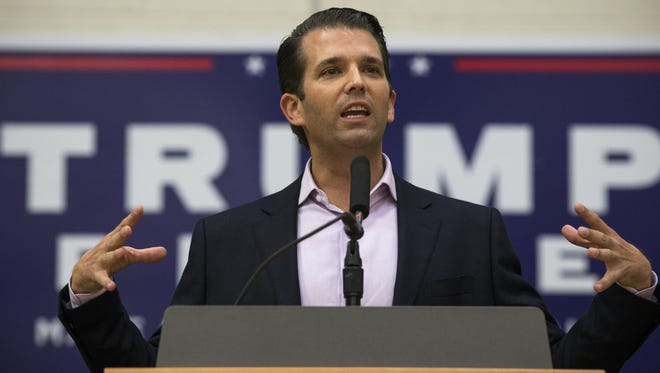 Donald J. Trump Jr. speaks to a crowd on Oct. 27, 2016, at the ASU Sun Devil Recreation Center in Tempe.