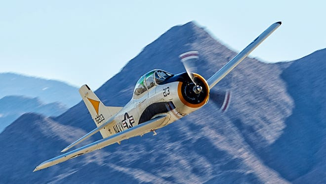The T-28 Trojan is scheduled to fly on Saturday November 12 during the all-day Air Fair at the Palm Springs Air Museum. Photo courtesy by Ian L. Sitren