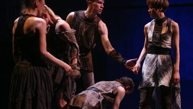 """A scene from """"After the Feast,"""" choreographed by Tiffany Mills. The work, performed by the New York-based Tiffany Mills Company, is the opening presentation of Contemporary Dance Theater's guest artist series. Performances are Nov. 18-19 in the Jarson-Kaplan Theater at the Aronoff Center."""