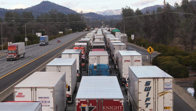 Northbound Interstate 5 was closed Wednesday at Fawndale Road north of Redding. The closure caused traffic to be backed up about 14 miles to South Bonneyview in south Redding.