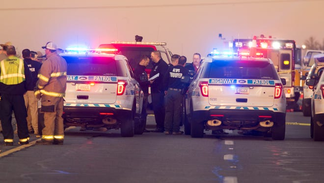 An Arizona Department of Public Safety trooper was shot on Jan. 12, 2017, at the scene of a rollover accident on Interstate 10 near Tonopah.