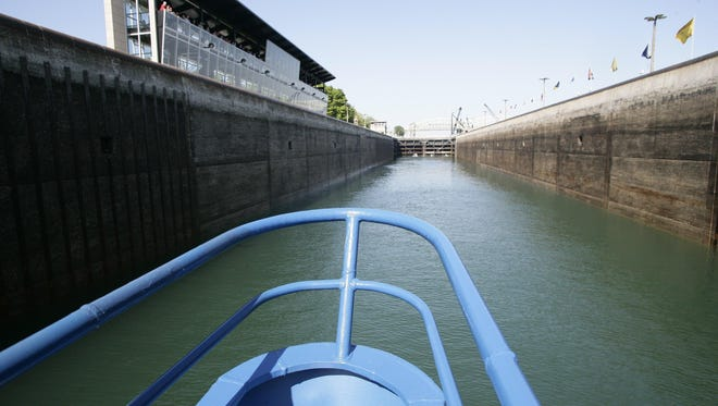 The Keweenaw Star travels into the MacArthur Lock, one of two locks that raise/lower the vessel from the height of the St Marys River to that of Lake Superior.