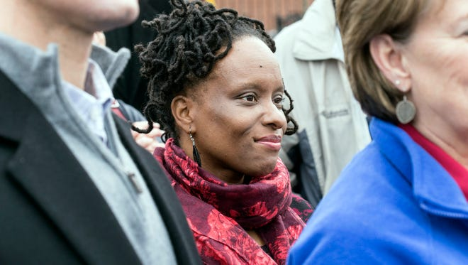 State Representative Attica Scott was one of the featured speakers at a rally on Saturday to protest the departure of the Second Street Kroger. 1/21/17