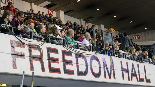 An audience at Freedom Hall enjoys the action during the 2017 AMSOIL Arenacross Tour. 2/4/17