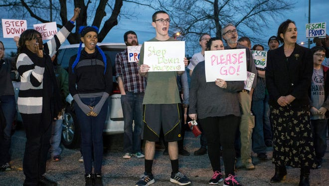 A crowd rallied in front of the Van Hoose Education Center on Tuesday night to voice concerns about the leadership of JCPS superintendent Donna Hargens. Feb. 21, 2017
