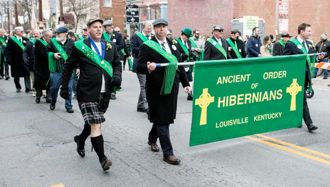 Members of the Ancient Order of Hibernians marched proudly in the 44th St. Patrick's Parade in the Highlands on Saturday.  March 11, 2017