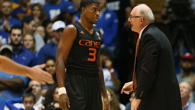 Miami and coach Jim Larranaga, right, are the No. 8 seed in the Midwest region, facing Michigan State in the first round of the NCAA tournament at 9:15 p.m. Friday.
