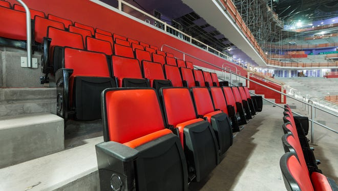 Seats are being installed at Little Caesars Arena. They are wider than the ones at Joe Louis Arena.