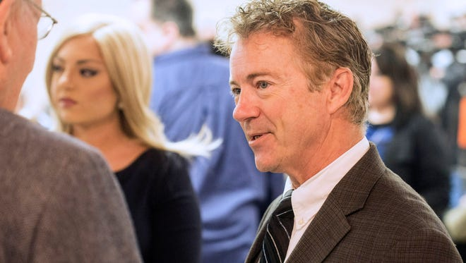 Senator Rand Paul chats upon arrival with those assembled at the St. Matthews Community Center on Monday morning. 3/20/17