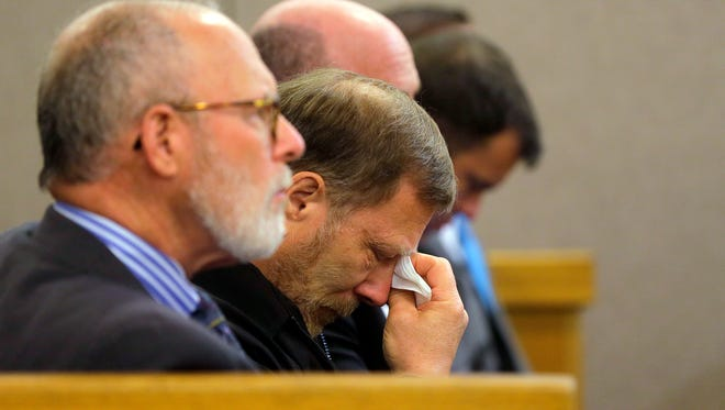 Michael Stern, Sarah Stern's father, reacts as Preston Taylor, 19, answers questions about his role in the murder of Sarah Stern during a plea hearing before Judge Richard W. English at Monmouth County Courthouse in Freehold, NJ Monday April 24, 2017. Taylor plead guilty to 6 charges in the Sarah Stern murder case, which include robbery, conspiracy to commit robbery, disturbing or desecrating human remains, tampering with physical evidence and two counts of hindering apprehension.