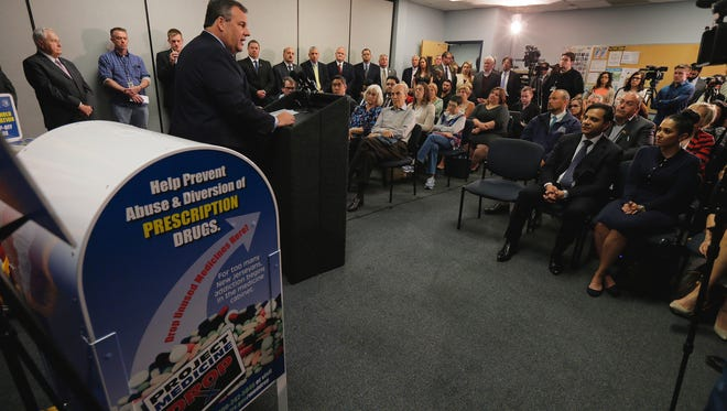 Tanya Breen/Staff Photographer Gov. Chris Christie speaks during a National Prescription Drug Take-Back Day event at the Toms River Police Department in Toms River Wednesday. He said the nation needs to battle the drug overdose crisis much like it fought against AIDS. Overdoses, he said, took the lives of more people last year in the United States than AIDS during its peak in 1995. Governor Chris Christie speaks during a National Prescription Drug Take-Back Day event at the Toms River Police Department in Toms River, NJ Wednesday April 26, 2017.
