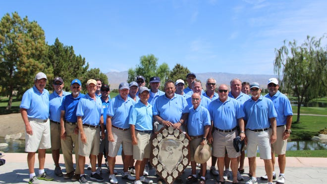 Members of the 2017 SCGA Team Play Thursday Division Championship team from Saticoy Country Club pose with their trophy. It is the club's first title since 2006.