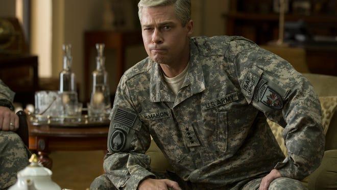 Brad Pitt in a scene from 'War Machine'