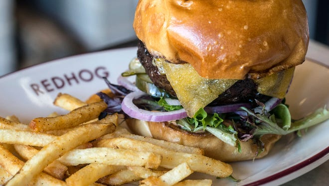 The Le Big Snack burger at Red Hog is topped with tillamook cheddar.