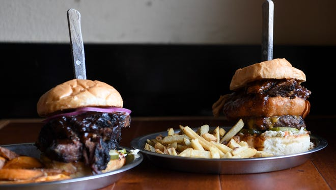 The Route 213 Brisket sandwich at Stack House in Mars Hill, left, and the Big Bailey Mountain Stack.