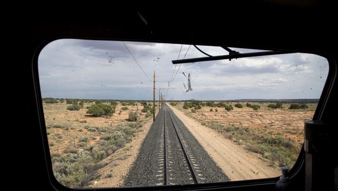 The view from Black Mesa and Lake Powell Railroad locomotive, May 30, 2017, eastbound to the Navajo Generating Station.