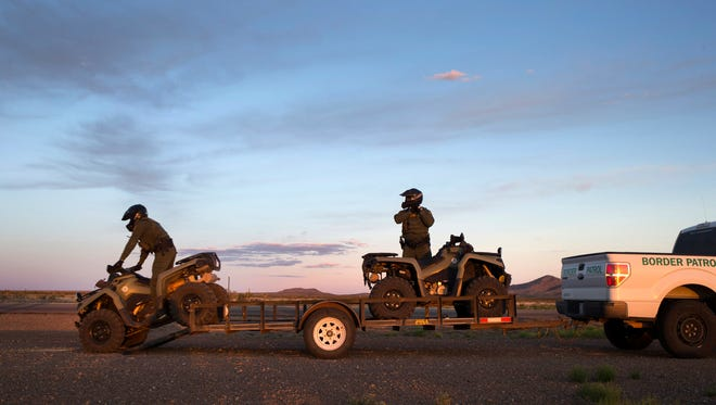 In New Mexico's Bootheel, Border Patrol agents who ride ATVs, as well as those on horseback, work in pairs. Agents who have an assigned vehicle usually work alone.