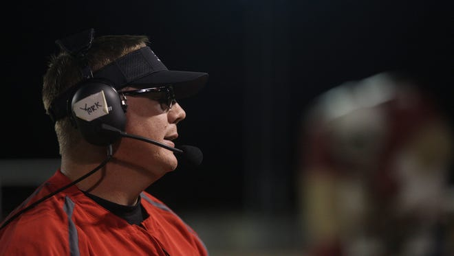 Glendale High head coach Robert York looks on during the game against South Mountain on Friday, Oct. 6, 2017, in Glendale, Arizona. #hsfb