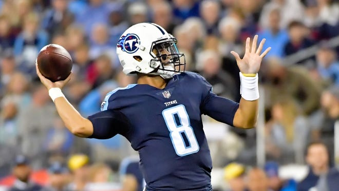 Oct 16, 2017; Nashville, TN, USA; Tennessee Titans quarterback Marcus Mariota (8) throws a pass against the Indianapolis Colts during the first half at Nissan Stadium. Mandatory Credit: Jim Brown-USA TODAY Sports