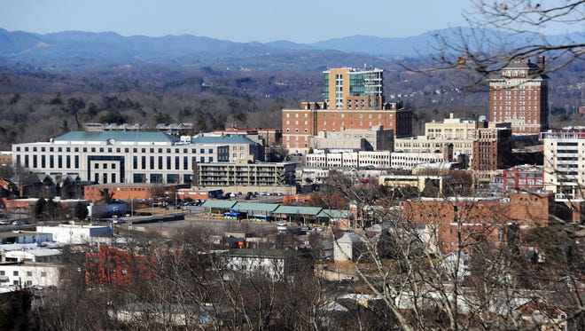 A 2015 view of Asheville's skyline from the White Fawn Reservoir area atop Beaucatcher Mountain.