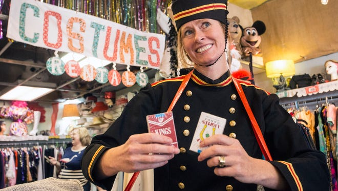 Terri Burt, owner of The Nitty Gritty, shows off a vintage cigarette girl uniform just in time for Halloween. 10/17/17
