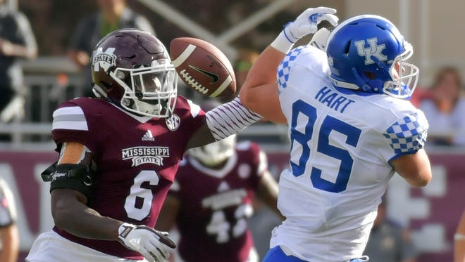 Mississippi State Bulldogs linebacker Willie Gay Jr. (6) breaks up a pass intended for Kentucky Wildcats tight end Greg Hart (85) during the first half at Davis Wade Stadium on Saturday, Oct. 21, 2017, in Starkville, Mississippi.