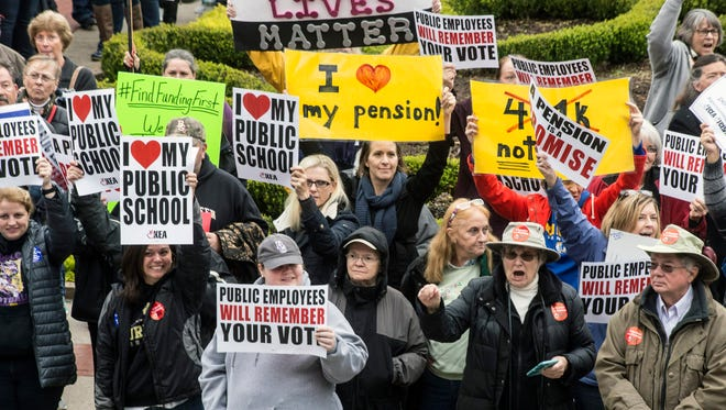 Hundreds of people protested on the steps of the Kentucky State Capitol on Wednesday in opposition to Governor Bevin's plans for the state pension funds. 11/1/17