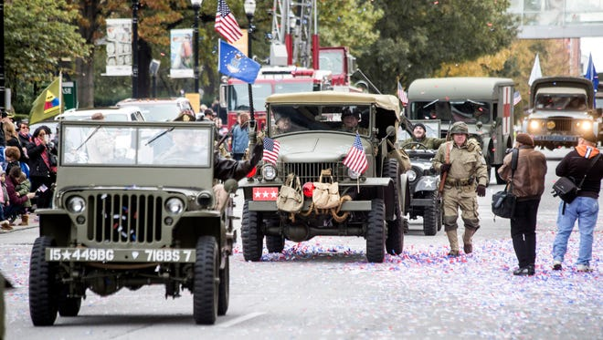 A variety of military vehicles made famous in America's celebrated war history were featured in the Veterans Day Parade on Saturday. 11/11/17