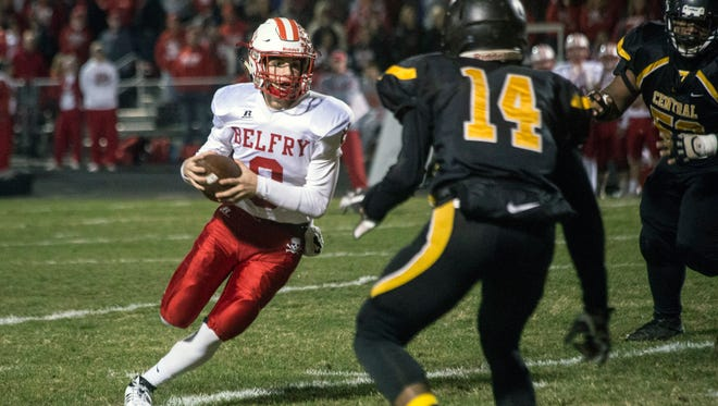 Belfry QB Avery Browning didn't like what he encountered as he turned the corner on Central's defense. 11/17/17