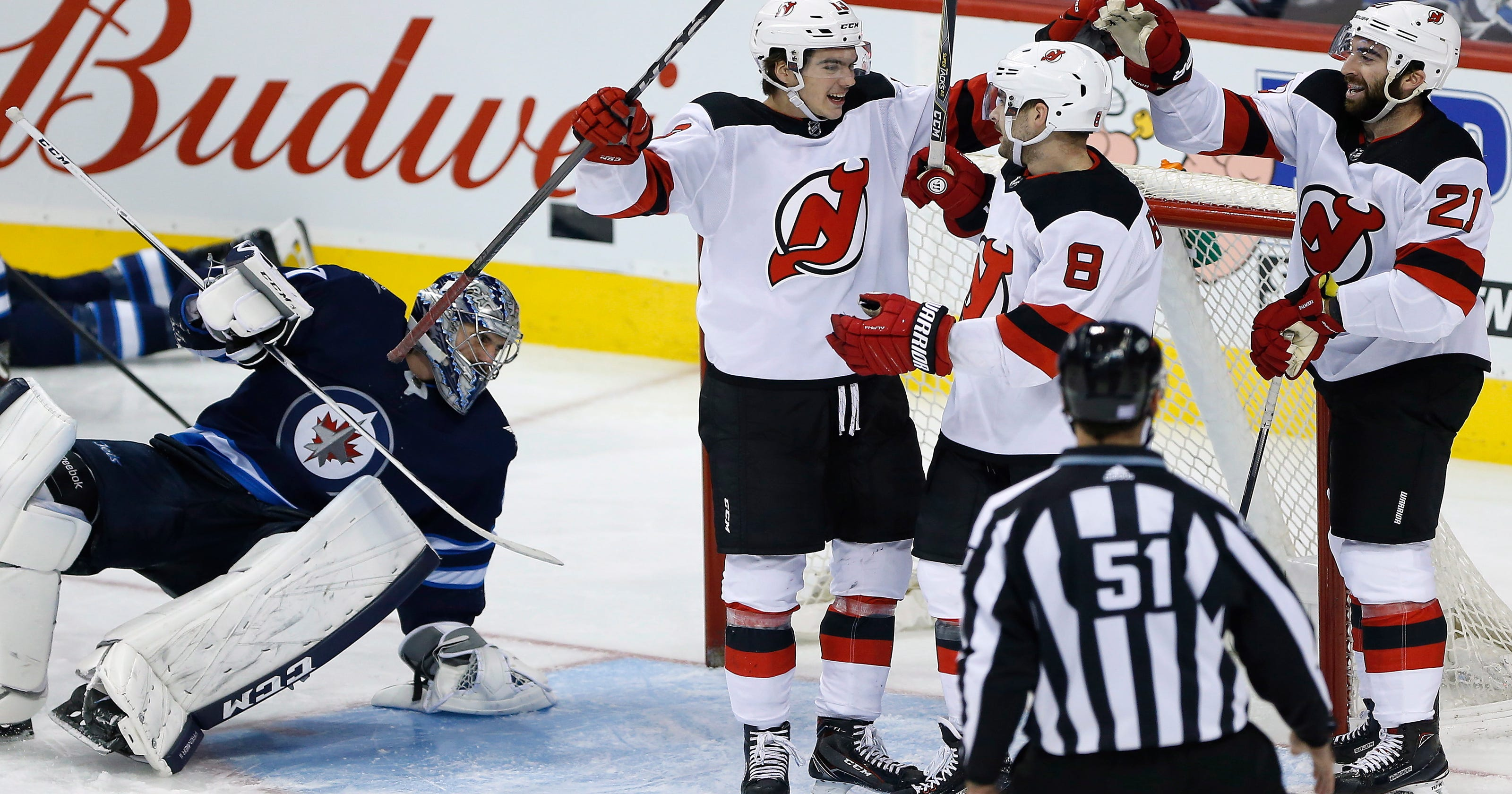 de4a2c595 Devils Will Butcher scores his first NHL goal in 5-2 loss to the Jets