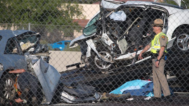 A wrong-way crash on northbound Interstate 17 in Phoenix left three people dead on April 14, 2017.
