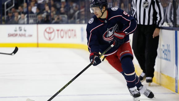 Columbus Blue Jackets' Artemi Panarin, of Russia, plays