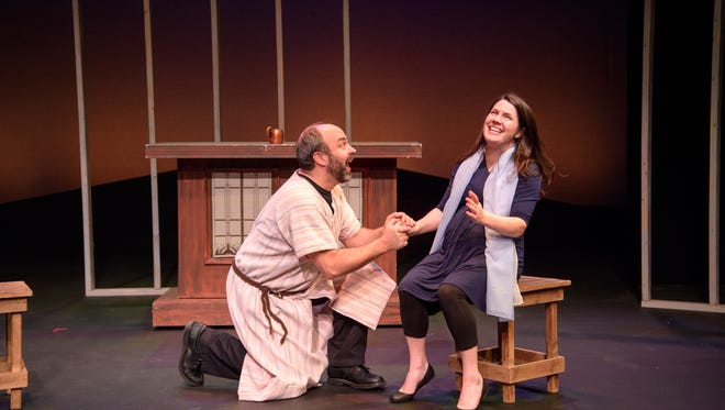 "Doug Jarecki and Sara Zientek portray Joe and Mary in ""Twas the Month Before Christmas."""
