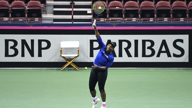 Serena Williams practices at the U.S. Cellular Center ahead of the weekend's Fed Cup on Wednesday, Feb. 7, 2018.
