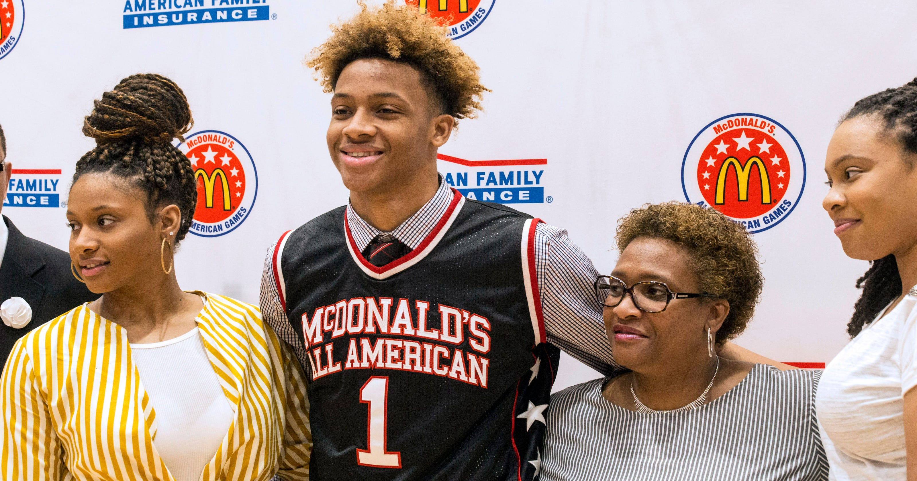 ff032443fac Romeo Langford accepts McDonald s All-American jersey as New Albany  classmates cheer