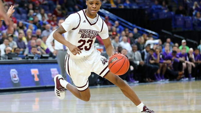 Mar 8, 2018; St. Louis, MO, USA; Mississippi State Bulldogs guard Tyson Carter (23) handles the ball during the second half of the second round of the SEC Conference Tournament against the LSU Tigers at Scottrade Center. Mississippi State won 80-77. Mandatory Credit: Billy Hurst-USA TODAY Sports