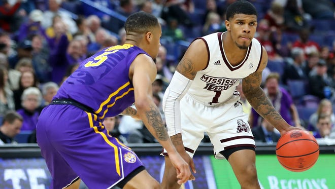 Mar 8, 2018; St. Louis, MO, USA; Mississippi State Bulldogs guard Lamar Peters (1) handles the ball as he is defended by LSU Tigers guard Daryl Edwards (5) during the second half of the second round of the SEC Conference Tournament at Scottrade Center. Mississippi State won 80-77. Mandatory Credit: Billy Hurst-USA TODAY Sports