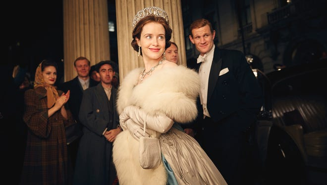 Claire Foy as Queen Elizabeth II and Matt Smith  as Prince Philip in Season 1 of Netflix series 'The Crown.'