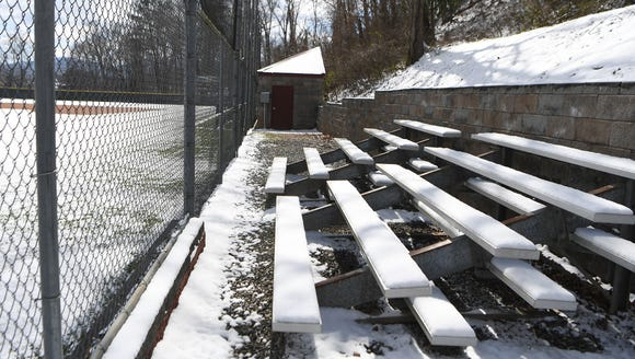 The Asheville High School baseball field is covered