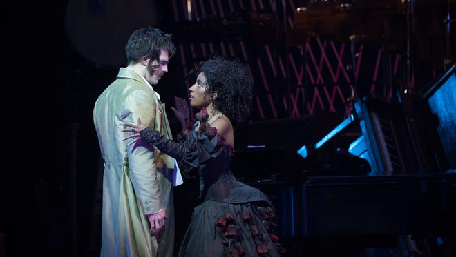 "John Kaneklides and Ariana Douglas share a scene in ""The Tales of Hoffmann,"" produced by Skylight Music Theatre in association with Milwaukee Opera Theatre."