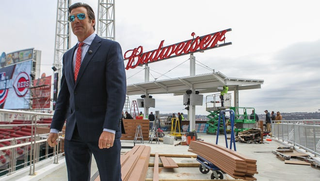 Reds COO Phil Castellini walks local media around, showing new features at Great American Ball Park. The Budweiser Bowtie Bar and balcony will be open soon and provide a new way to enjoy baseball games.