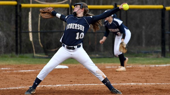 Roberson hosted Asheville in softball on Tuesday, March 27, 2018. The Lady Rams defeated the Lady Cougars 11-1 in six innings.