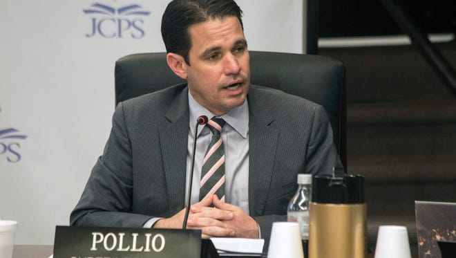 """JCPS Superintendent Marty Pollio helmed his first JCPS board meeting on Tuesday night since having the phrase """"acting"""" removed from his title. 3/27/18"""