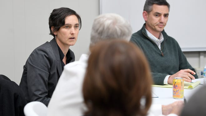 Buncombe County Commissioner Jasmine Beach-Ferrara introduces herself during Age of Addiction: An Opioids Forum at the Asheville Citizen Times building on Tuesday, April 17, 2018.