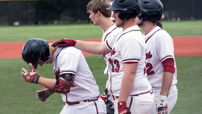 PRP's Nick Rucker is celebrated by teammates after his homerun against Eastern High on Wednesday. 4/18/18