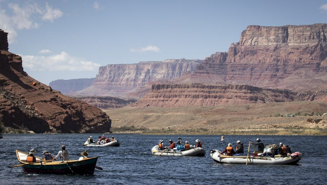 Rafters depart, April 12, 2018, from the boat launch area at Lees Ferry, Glen Canyon National Recreation Area.